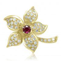 18ct Ruby & Diamond Brooch