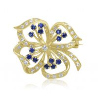 18ct Sapphire & Diamond Brooch