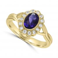 18ct Amethyst & Diamond Ring