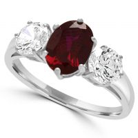 9ct Created Ruby & Cz Ring