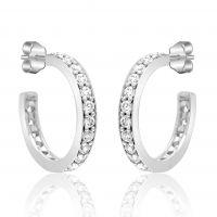 Silver Cz Hoop Earrings