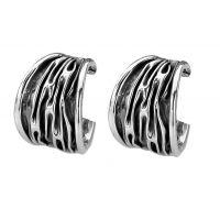 Silver Oxidised Hoop Earrings