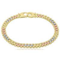 9ct 3 Colour Gold Bracelet
