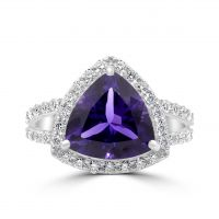 18ct Amethyst & Diamond Ring