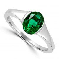 Silver Green Cz Ring