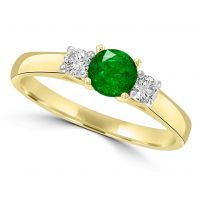 9ct Emerald And Diamond Ring