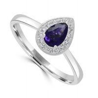 9ct Amethyst & Diamond Ring
