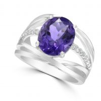 9ct Amethyst & Diamond Ring