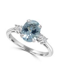 18ct Aquamarine & Diamond Ring