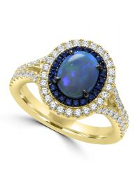 Opal Diamond Sapphire Ring