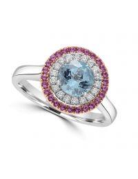 Aqua Pink Sapphire & Diamond