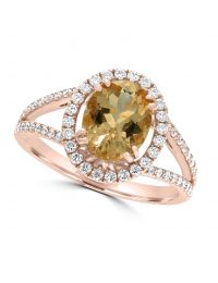 18ct Morganite & Diamond Ring